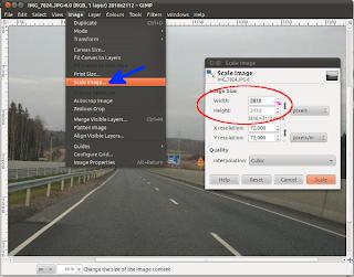 Kuvan koon muuttaminen GIMPissä