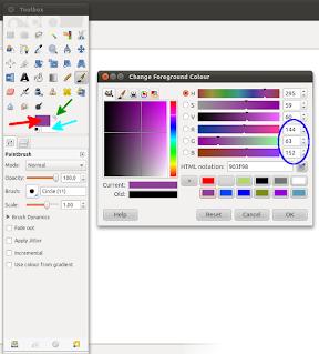 Värien määritteleminen GIMPissä