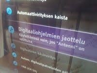 Sony Bravia kieltäytyy järjestämästä kaapeli-tv-kanavia suomeksi.